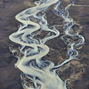 Aerial photo of glacial river in Iceland