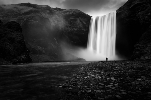 Alone in Skogafoss