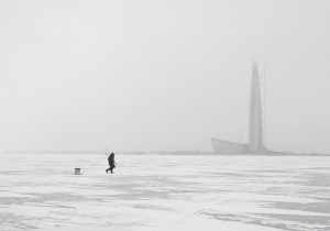 The Lakhta Center tower in the context of everyday life.  The Gulf of Finland