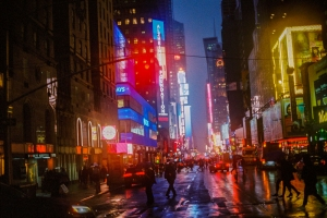 Neon Rainy New York City