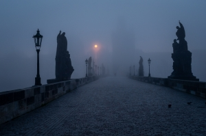 Sunrise in fog on Charles Bridge