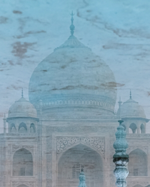 Taj Mahal through the reflecting pools