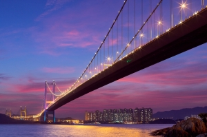Tsing Ma Bridge with sunset glow